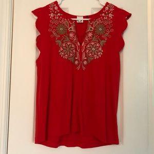 Akemi + kin red binah scalloped shell blouse